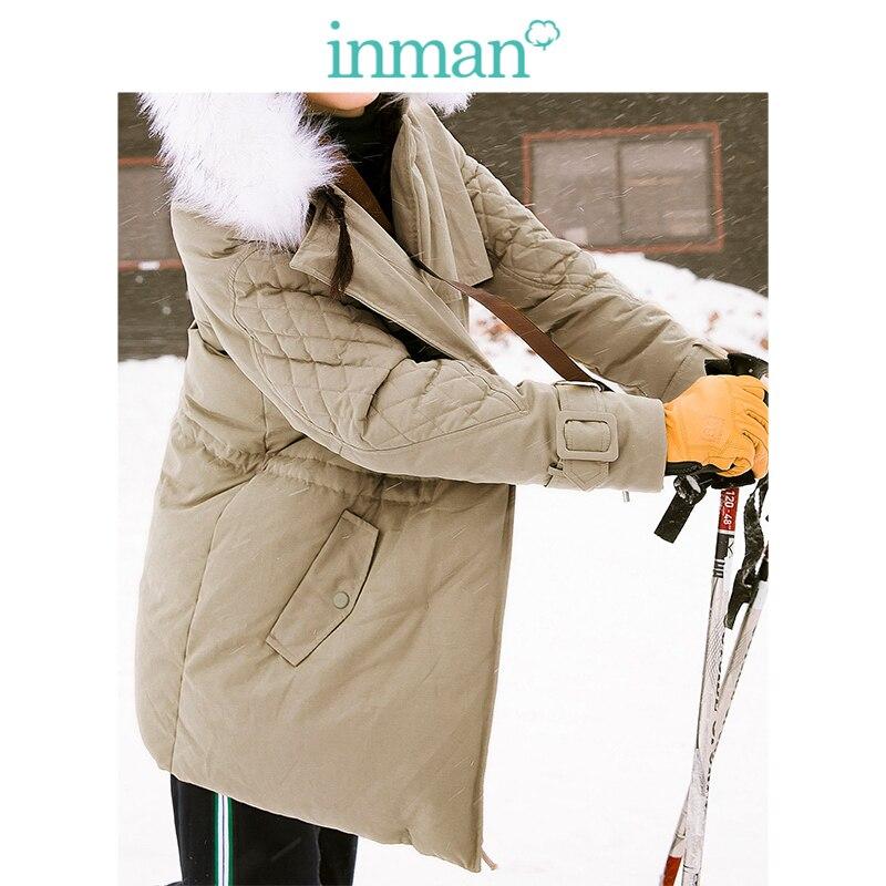 INMAN Winter New Arrival Female Hooded Fur Collar Casual Medium And Long Term   Down     Coat