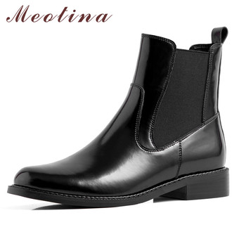 Meotina Winter Chelsea Boots Women Natural Genuine Leather Thick Heel Ankle Boots Fashion Round Toe Shoes Ladies Autumn Size 39