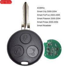 Keyecu chave remota de carro fob, 3 botões 433 mhz para smart fortwo forquatro roadster city pasion 2000-2005