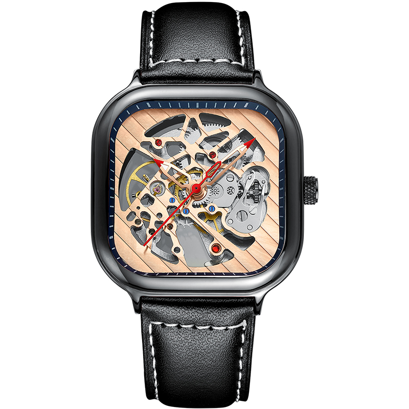 2020 new men's automatic watch top brand luxury silicone strap hollow Swiss square top ten watches 17