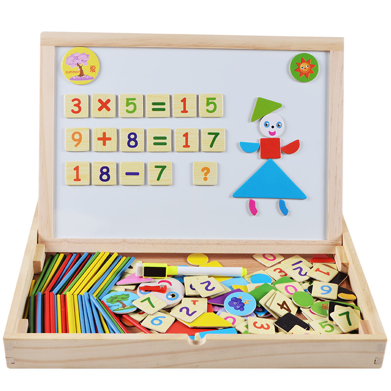 Wooden Drawing Board CHILDREN'S Puzzle Magnetic Double-Sided Painted Graffiti Writing Board Wood Joypin Educational Toy