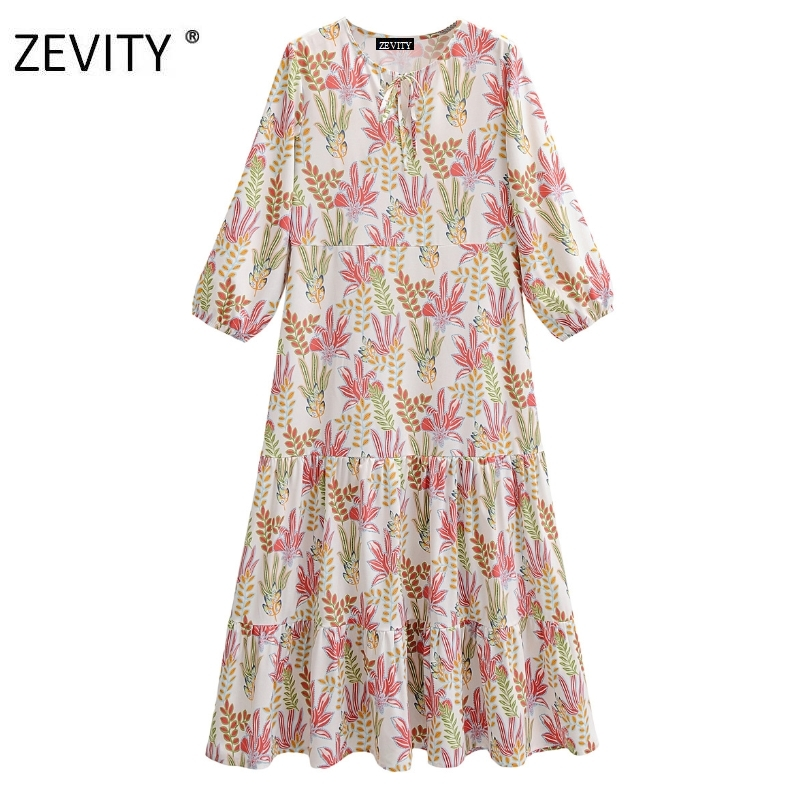 Zevity New women vintage o neck lace up print casual loose dress chic female three quarter sleeve vestidos party dresses DS4164