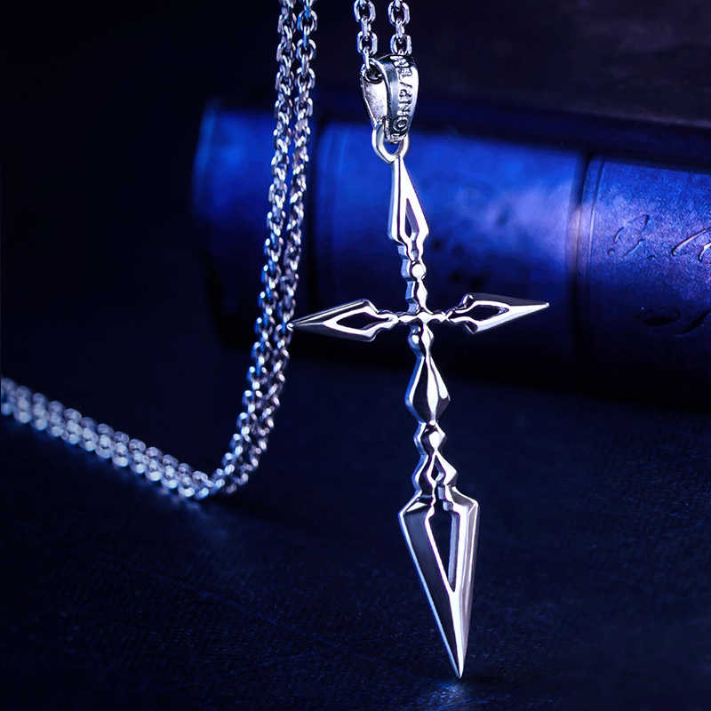 Fate Zero Saber Pendant Silver 925 Sterling Cross Jewelry Necklace Anime Role Emiya Kiritsugu Cosplay Birthday Necklace Gift