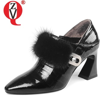 ZVQ spring new fashion sexy women pumps outside high heels pointed toe genuine leather zip women shoes drop shipping size 33-43