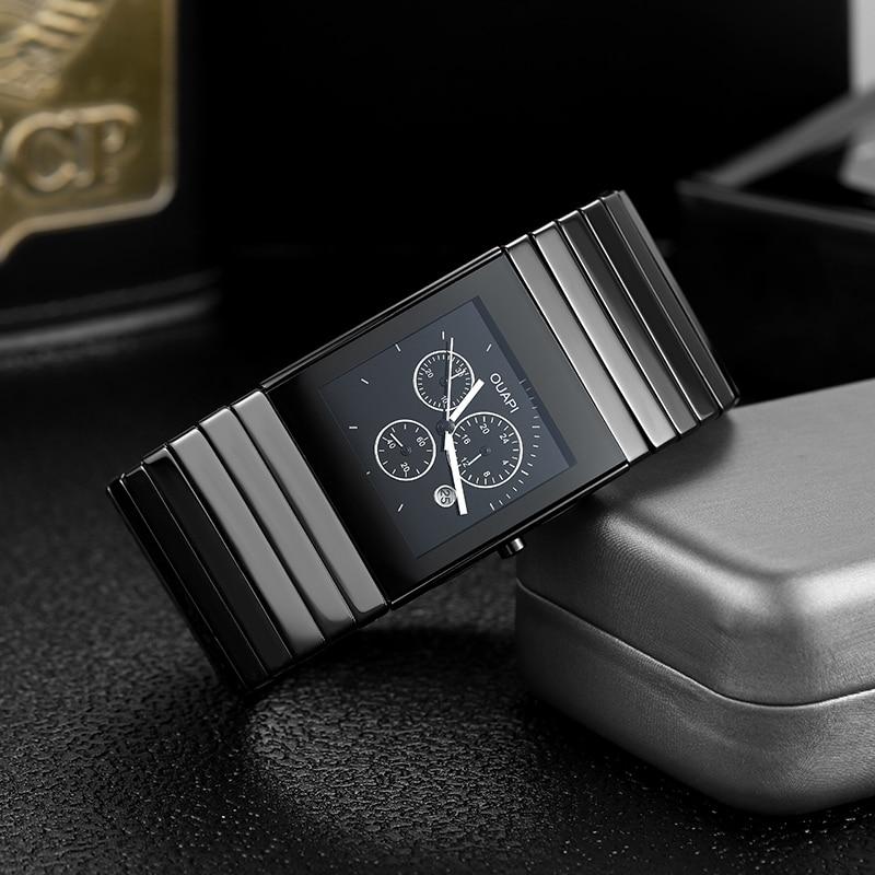 2021 New Arrival Black Ceramic Square Chronograph Sports Watch Men RA CERAMICA DO Classic Design Waterproof Old Fashion Watch