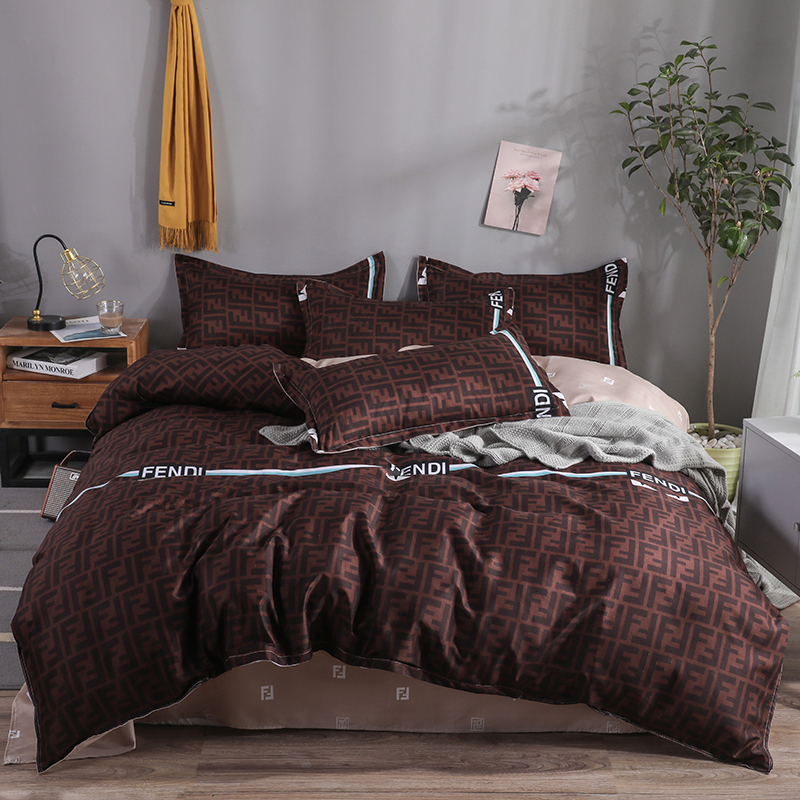 ANNAs Good Stuff Men Style Letter F Print BeddingSet Cheap Brown Solid Color QuiltCover Khaki Bedsheet 4pcs Queen King Bed Cover
