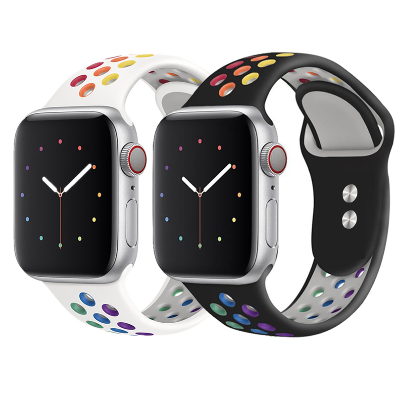New Breathable Silicone Sports Band for <font><b>Apple</b></font> <font><b>Watch</b></font> 5 4 <font><b>3</b></font> 2 1 <font><b>42MM</b></font> 38MM rubber strap bracelet bands for Iwatch 5 4 <font><b>3</b></font> 40mm 44mm image