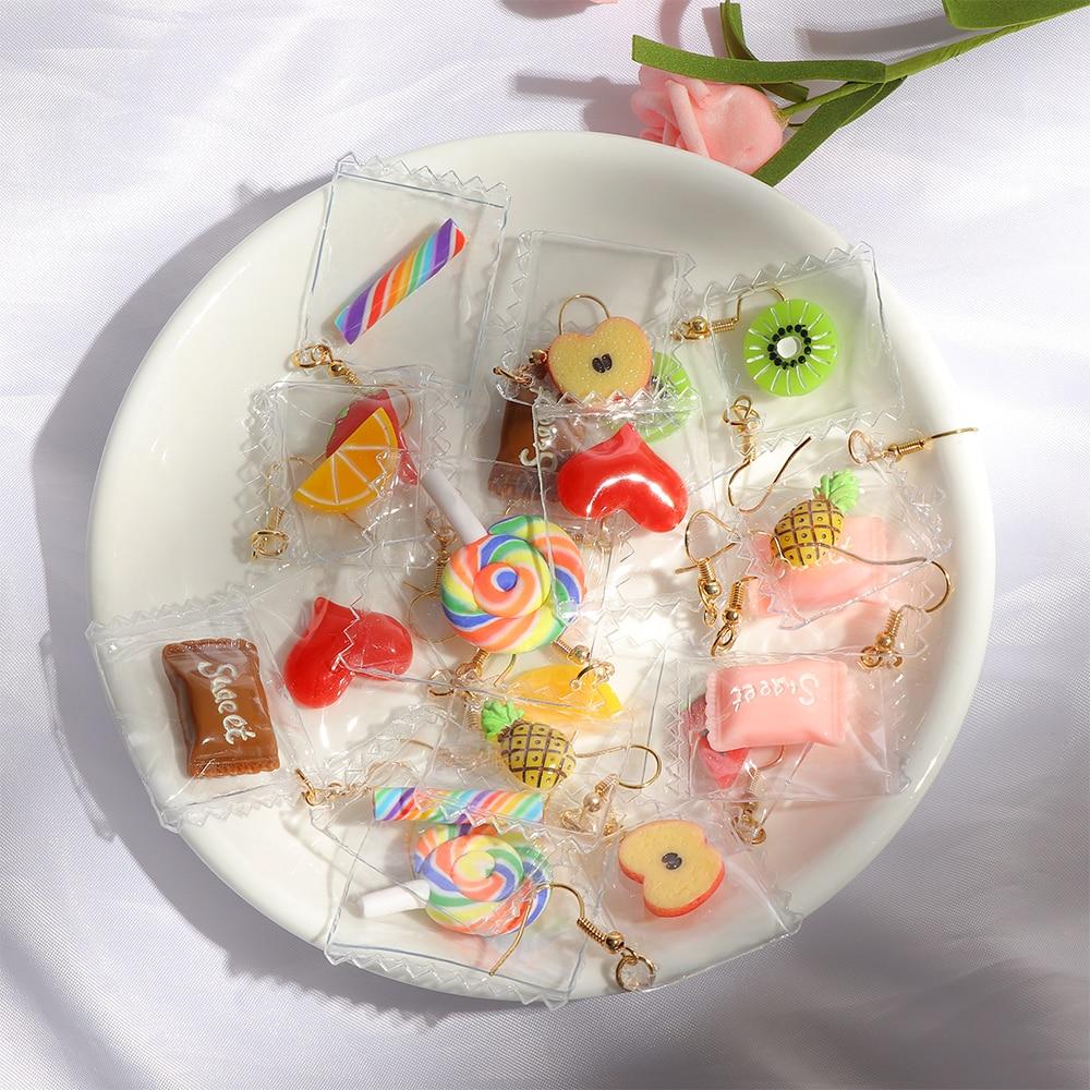 Cute Candy Fruits Spun Sugar Stylish Drop Earrings For Women Girls Elegant Adorable Funny Fashion Jewelry Earrings 1 Pair
