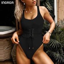 INGAGA-bañador Sexy de encaje de una pieza para mujer, de corte alto traje de baño, monos sólidos con espalda en U, ropa de playa para verano 2021