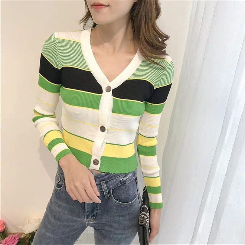 Striped Cardigan Women Ctop Top Long Sleeve Sweater V Neck Sexy Cardigan Knitting One Size Pull Femme Nouveaute 40OCT166