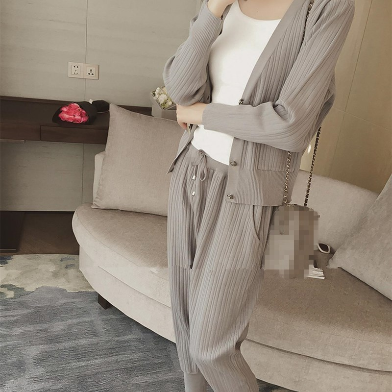 Knitted Casual Tracksuit Pant Suits 2018 Fashion 2 Piece Set Women Sweater And Trousers Set Pants Set 60