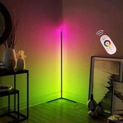 Escurecimento preto lâmpada de assoalho moderno rgb remoto led lâmpadas chão lâmpada pé simples canto pé lâmpada canto luz dropship