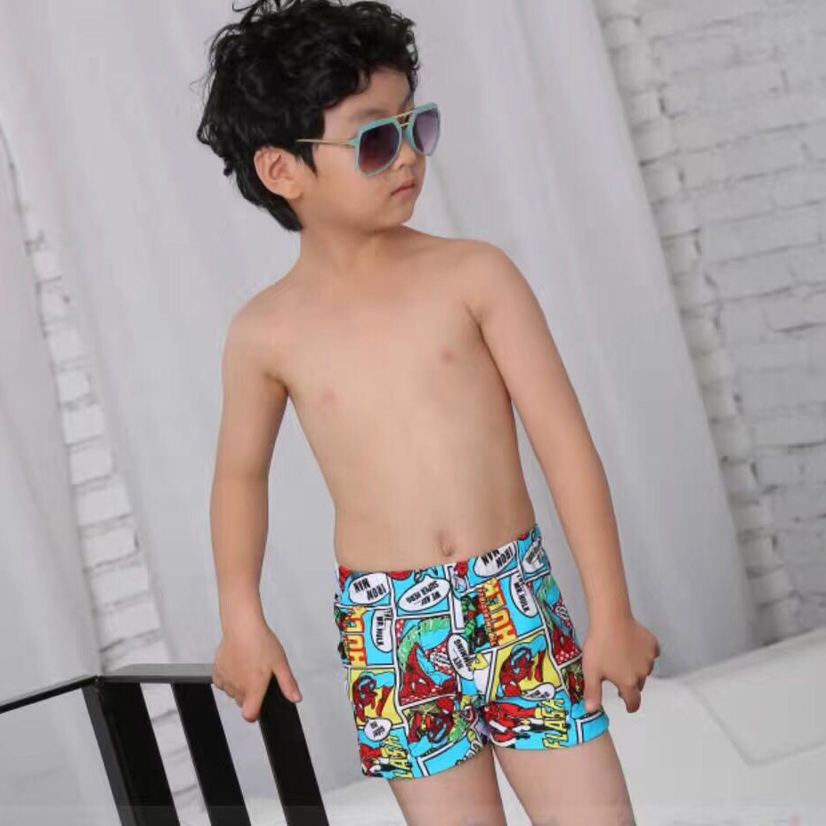 New Style Fashion South Korea Cartoon Printed Boxer Boys' swimming trunks With Swim Cap BOY'S Swimming Trunks 7807