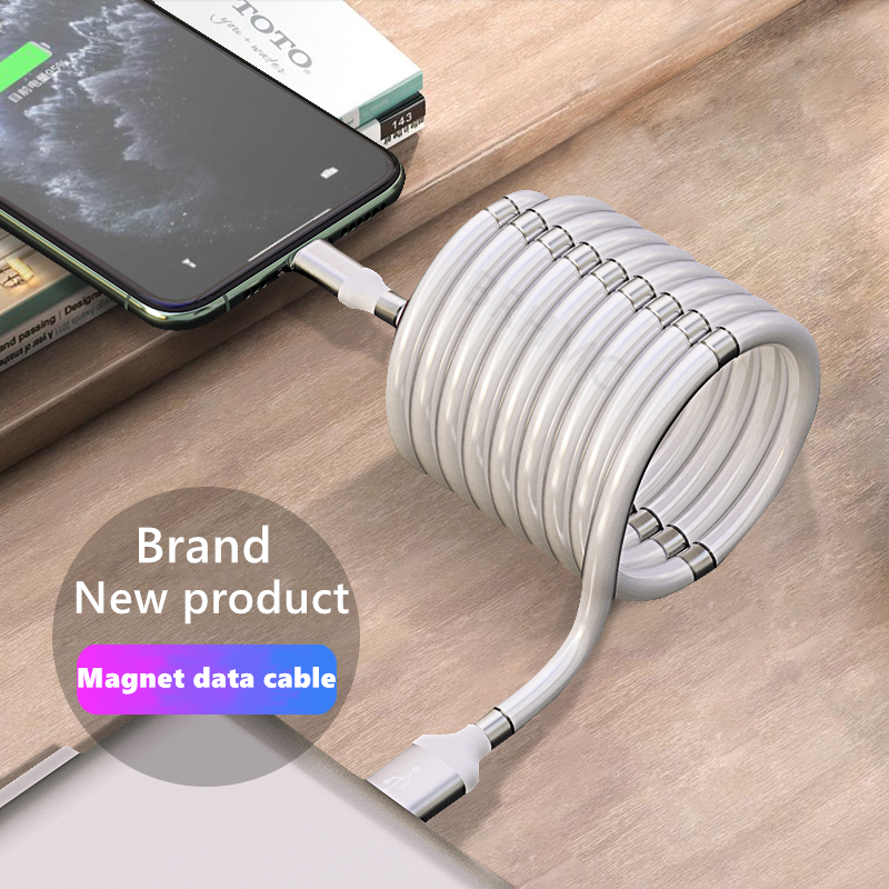 BRHMC Magnetic Data Cable Magic Rope Charging Cable For Huawei Samsung Xiaomi Flash Charging Fast Charging Type C Micro Cable