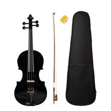 Czarny 4/4 rozmiar akustyczna skrzypce elektryczne z przypadku łuk kalafonii dla miłośnicy muzyki