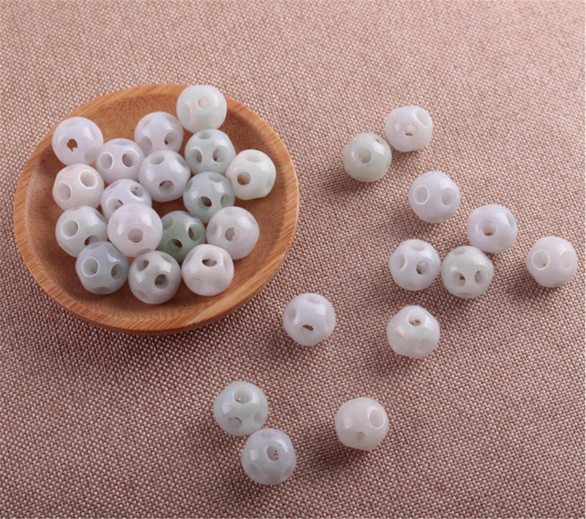 Atacado 10 pçs lote para 13mm grau natural a jade grânulos foodball forma birmânia jadeite baed diy colar verde jadeit jóias presente
