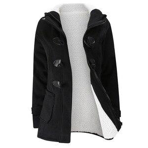Image 3 - 2020 nowy jesień zima kobiet róg płaszcz z guzikami Slim ciepła, z wełny kurtki damskie znosić Plus size z kapturem płaszcze dla kobiet 5XL 6XL