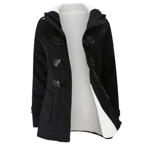 Image 3 - 2020 yeni sonbahar kış bayan korna düğmesi ceket ince sıcak yün ceketler kadın dış giyim artı boyutu kapşonlu palto kadınlar için 5XL 6XL