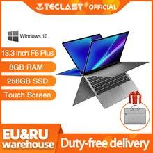 Teclast ordenador portátil de 13,3 pulgadas F6 Plus, pantalla táctil, rotación de 360 grados, 1920x1080, 8GB de RAM, 256GB de ROM, sistema operativo Windows 10
