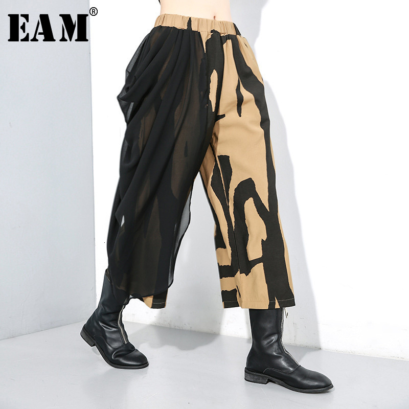 [EAM] High Elastic Waist Pattern Chffion Wide Leg Trousers New Loose Fit Pants Women Fashion Tide Spring Autumn 2020 1M033