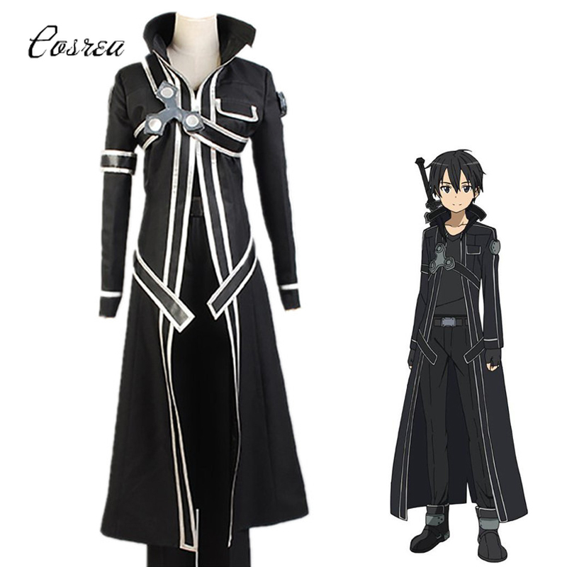 Japanese Anime Sword Art Online SAO Kirito Cosplay Costume Black Adult Full Set Men Kirigaya Kazuto Uniform Wig Trench Coat