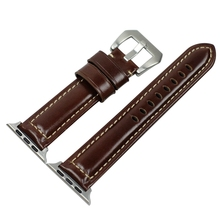 ABKT-Leather Adjustable Smart Bracelet Wrist Strap Watch Band Replacement for Iphone Series 1/2/3 38Mm Smartwatch Belt