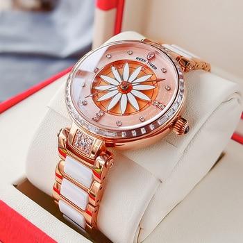 Reef Tiger/RT Luxury Lily Women Watch Rose Gold Diamonds Bezel  Top Brand Bracelet Clocks Relogio Feminino RGA1599