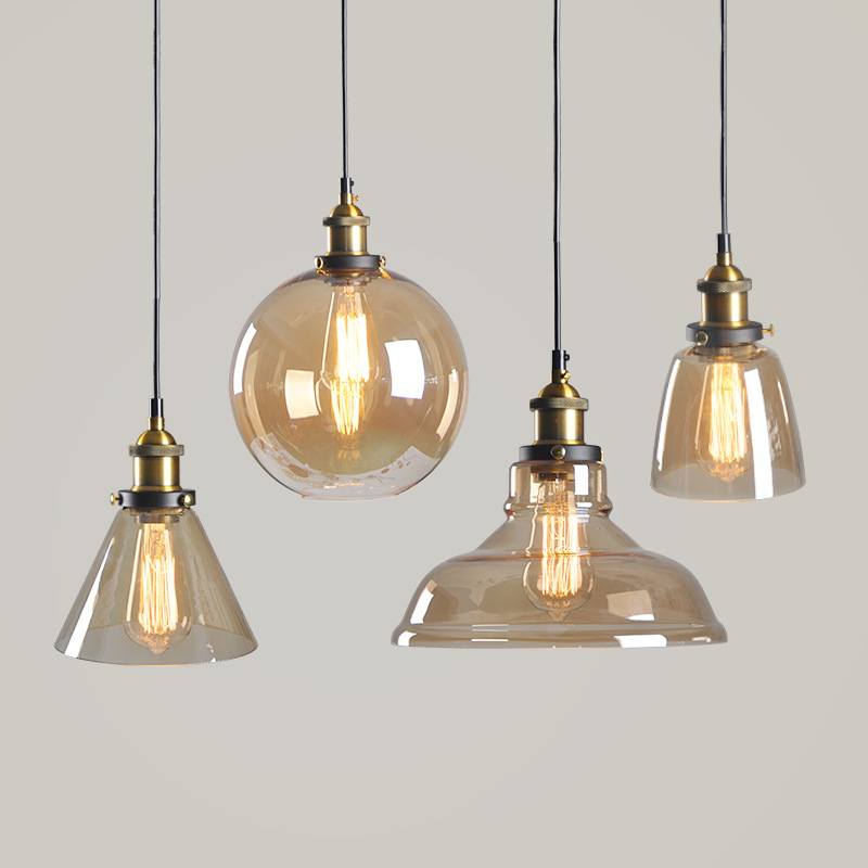 Retro Amber Glass Lamp Restaurant American Rural Industrial Style Creative Single-Head Chandelier