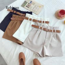 Korean version of the simple design white suit shorts 2019 fashion solid color high waist wide leg with belt 5 colors