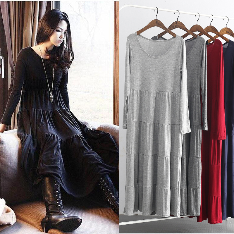 Long Sleeve Nightgown Women's Spring And Autumn New Style Modal Fat Mm 200 Plus-sized Pajamas Thin Pregnant Women Tracksuit