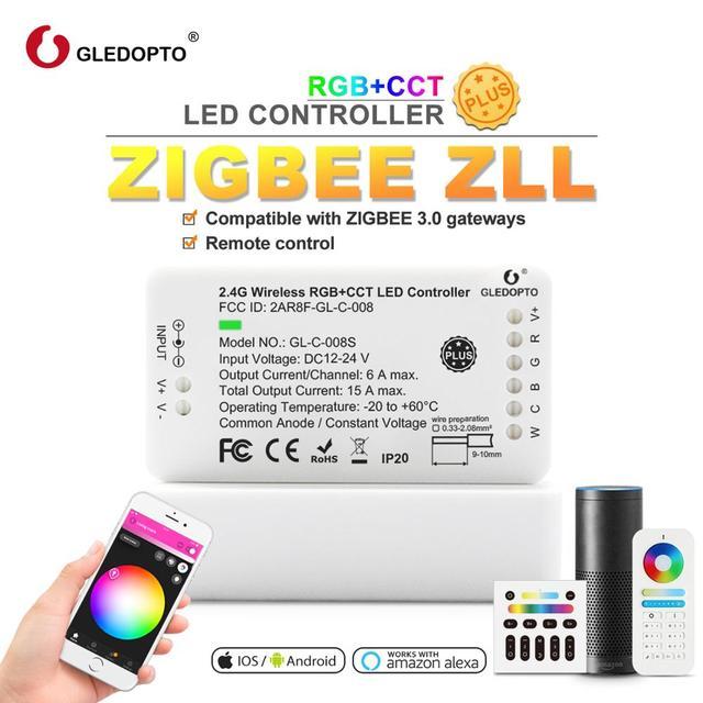 Zigbee Fernbedienung RGB WW/CW Led Controller DC12/24V LED Streifen Controller Smart Voice Control Arbeit mit Amazon Echo Plus Tuya