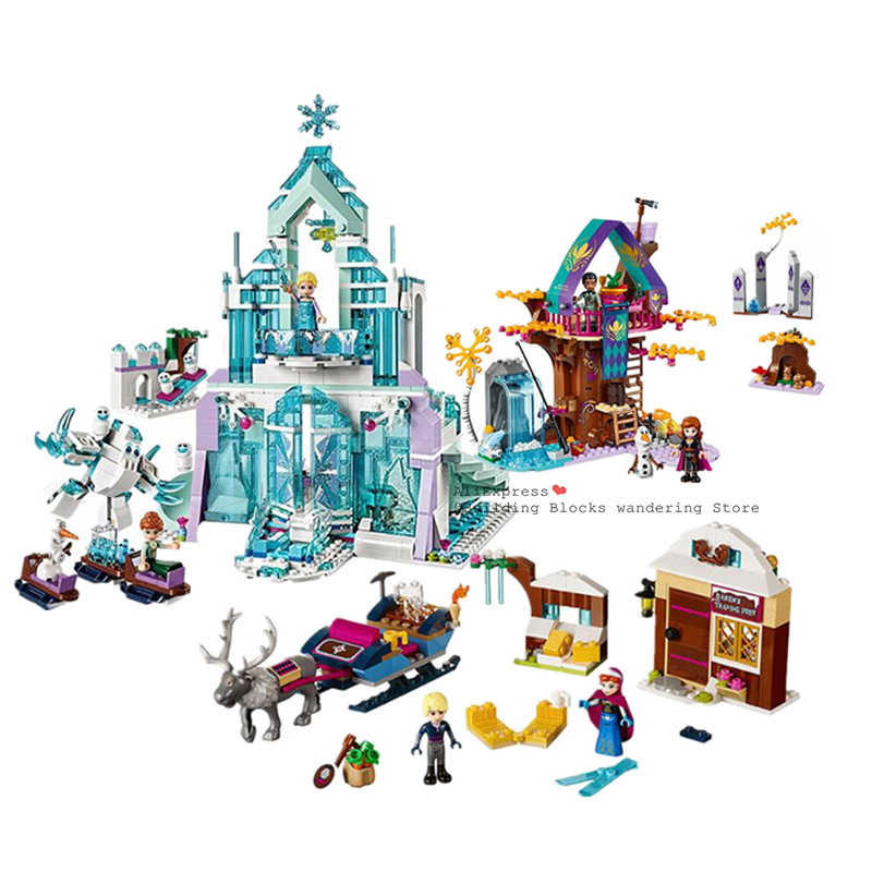 2020 neue Schnee Prinzessin Enchanted Magische Baum 41164 Elsa Prinzessin Anna Königin Eis Schnee Burg Modell block