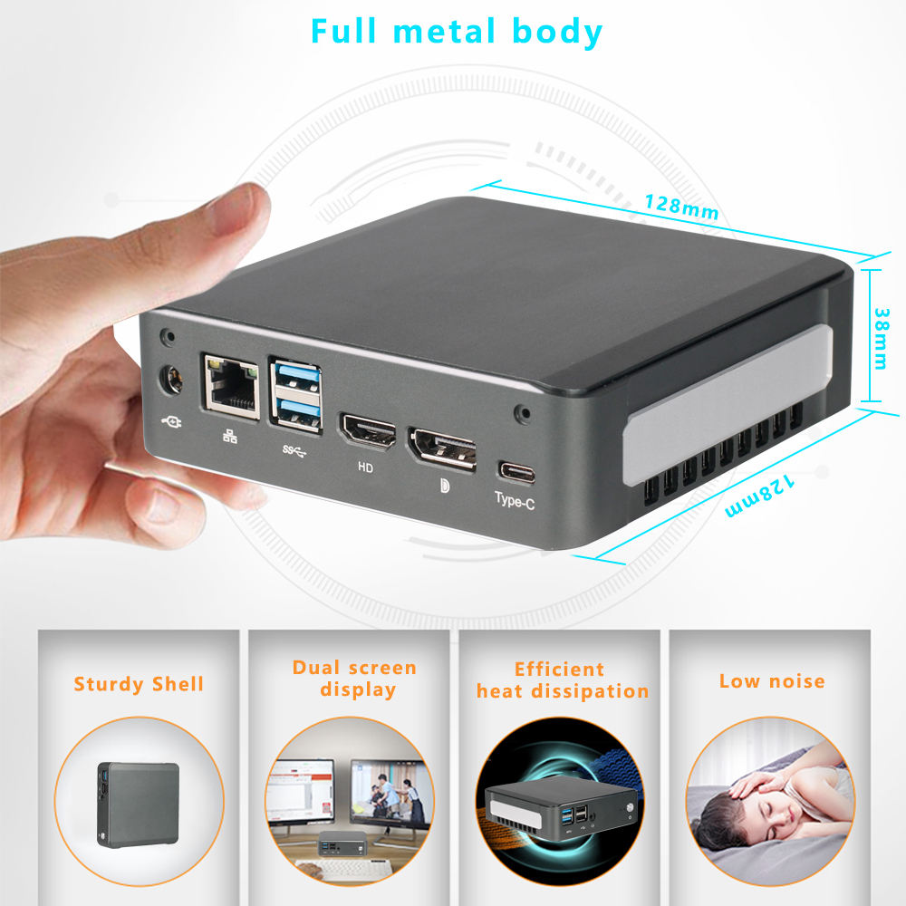 Mini PC Intel Core I7 8265U I3 8365U 4205U 8G 16G DDR4 Fanless Metal Body Mini Desktop Computer Windows 10 M.2 SSD HDMI DP Port