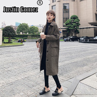 2019 new Autumn and Winter New style Woolen Coat Tweed Lattice overcoat Birtish Design Fashion Women wool blends