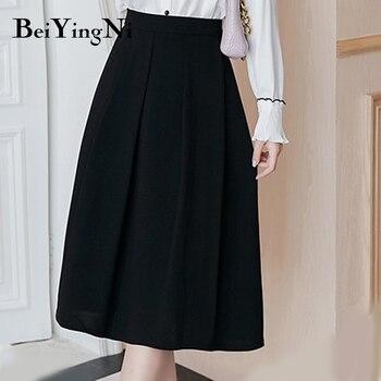 Faldas Beiyingni hasta la rodilla de cintura alta para mujer falda negra de oficina de línea A Color sólido Vintage Ropa de Trabajo moda coreana OL