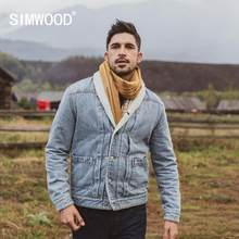 SIMWOOD invierno nuevo faux shearling lined denim jacket men berber polar abrigos interiores calientes de talla grande Shawl-Neck ropa de abrigo(China)