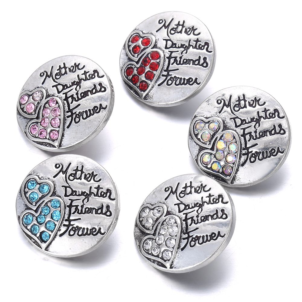 6pcs/lot New Family <font><b>Snap</b></font> Jewelry Mother Daughter Friends Forever Love Heart 18MM <font><b>Snap</b></font> <font><b>Buttons</b></font> for <font><b>Snap</b></font> Bracelet for <font><b>18</b></font> <font><b>Mm</b></font> <font><b>Snaps</b></font> image