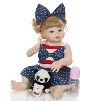 Bebe reborn Gold hair girl baby reborn full silicone vinyl dolls toys for children gift 55cm reborn toddler can bathe bonecas