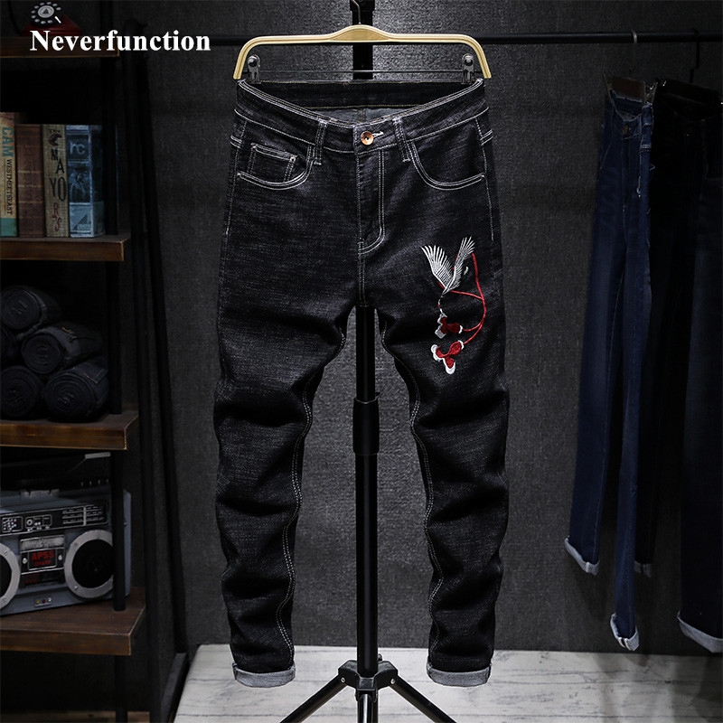 Men Hip Hop Chinese Wind Lion Head Embroidery Biker Straight Jeans Fashion Japanese Slim Man Cotton Motorcycle Denim Trousers