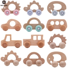 Let's Make Wooden Baby Toys 0 12 Month Set Toys For Babies Beech Car Hedgehog Elephant Educational Infants Developmental Newborn