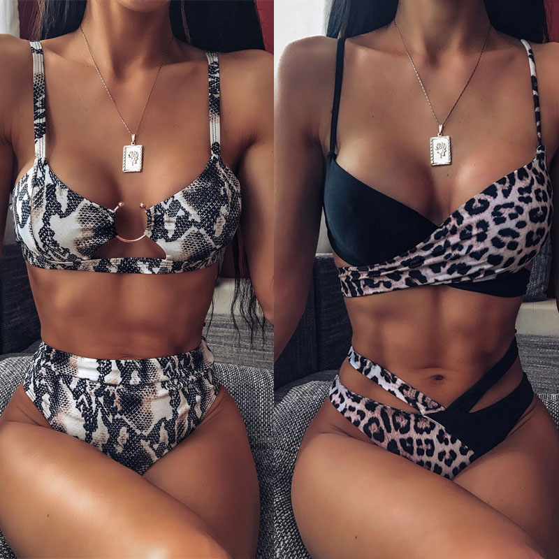 2020 Sexy Women High Waist Bikini Swimsuit Swimwear Female Bandeau Thong Brazilian Biquini Bikini Set Bathing Suit Bather 1