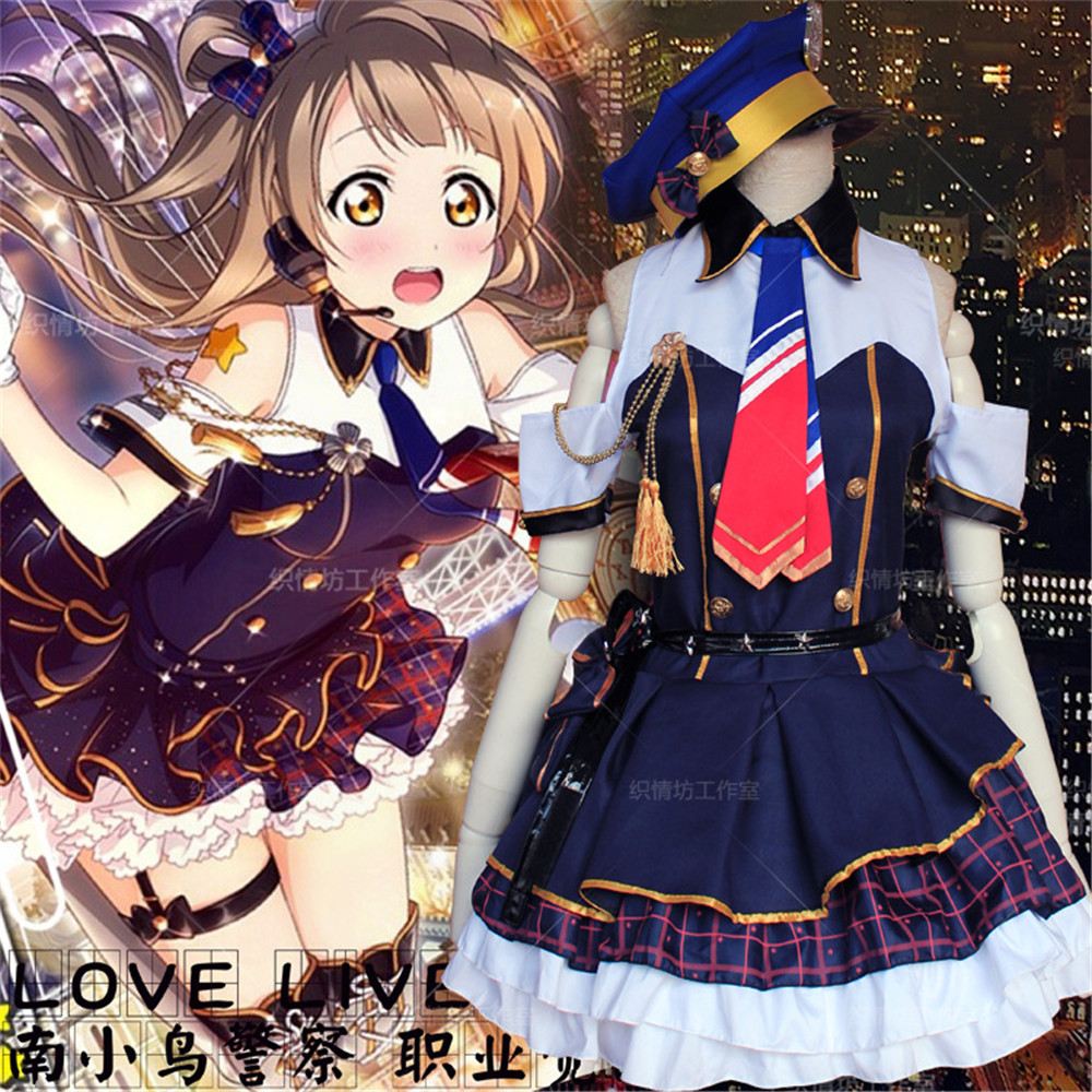 Anime Love Live! School Idol Project Minami Kotori  Cosplay Costume Blue Dress Awakening Police Uniform Full Set