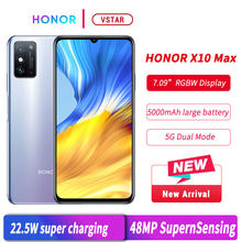 Estoque original honra x10 max 5g smartphone 7.09 polegada 6gb 128gb mt6873 octa núcleo 22.5w supercharge multi-tasking fack desbloqueio