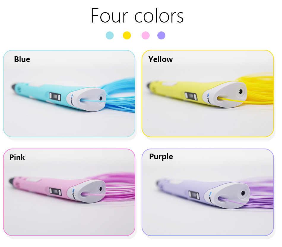 Myriwell3d pluma plumas 3d, pantalla LED, ABS/PLA Filamento 3 d pluma modelo 3d Creativo 3d pluma garabateador Niños regalos 3d dibujo pen-3d pens