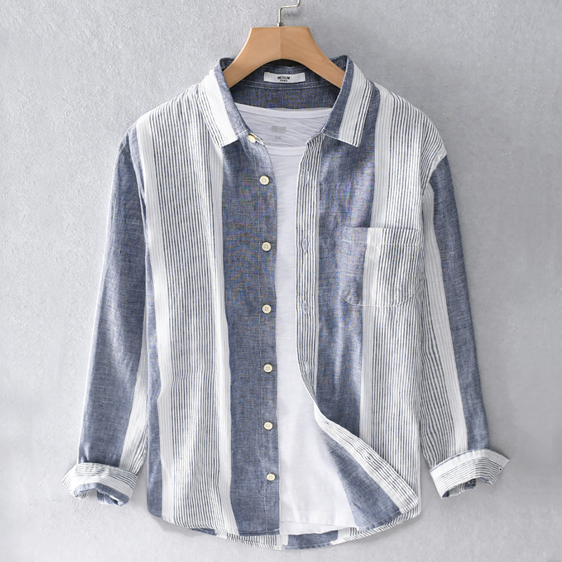 2020 Spring And Summer New Striped Casual Long Sleeve Shirt Men Brand Linen Shirts For Men Fashion Comfortable Shirt Mens Camisa