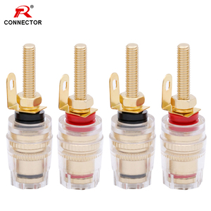 4PCS 4MM Binding Post HIFI Cable Terminals Gold Plated, Red+Black Color Binding Post Amplifier Speaker Connector,R Connector