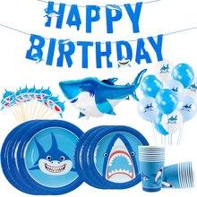 Staraiae 8pcs Happy Birthday Shark stoviglie di carta usa e getta Ocean Party Decor per bambini compleanno Baby Shower Boy forniture per feste
