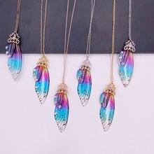 Женский кулон в виде крыльев бабочки радуги из прозрачной смолы