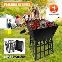 Jardim ao ar livre metal carvão fogueira pit 500 °c acampamento pesca churrasco queimador tigela multifuncional removível fogão churrasqueira grill suporte