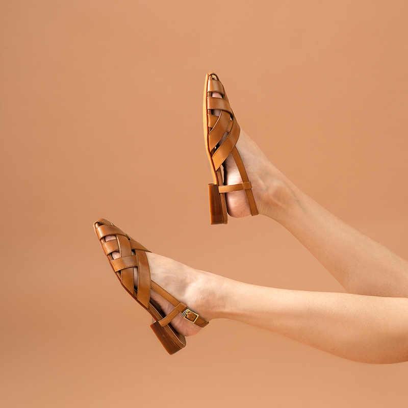 BeauToday Võ Sĩ Giác Đấu Giày Sandal Nữ Da Bò Chính Hãng Bện Dây Nữ Mùa Hè Đế Bằng Thủ Công 33034